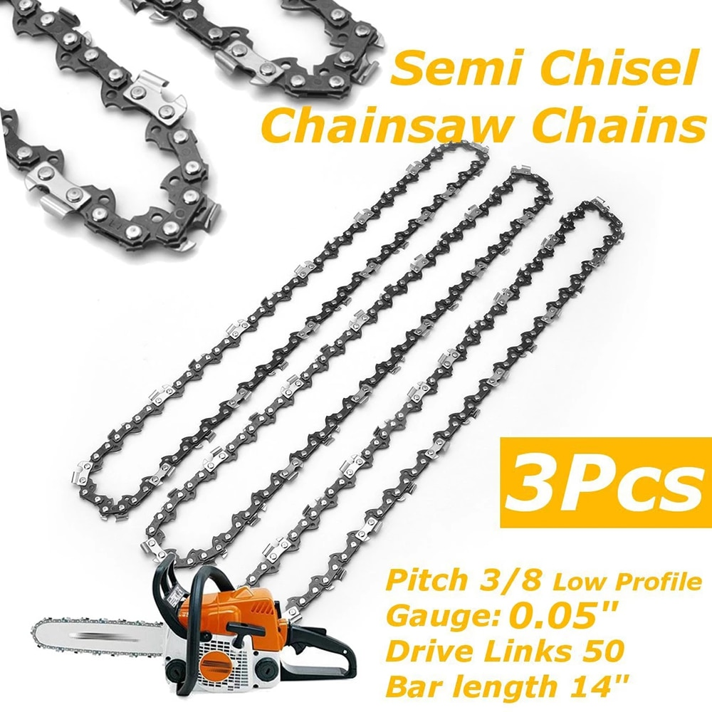 3pc 14 inch Chainsaw Saw Chain Drive Link Pitch 50DL 3/8 LP Pitch Chainsaw Chain Replacement Chain for Electric Saw Garden Tool electric chain saw huter els 2000p flat blade chainsaw link tooth saw chain cutter cross cut saw