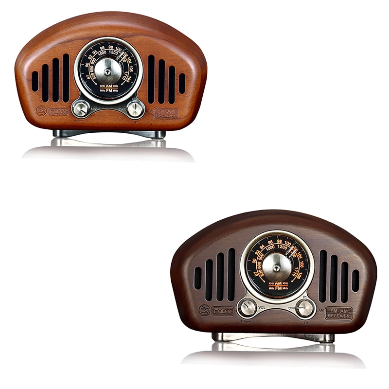 ترانزستور راديو قابل لإعادة الشحن مع مكبر صوت ، خشب عتيق الطراز ، FM ، SD ، MP3 ، بلوتوث ، يدعم وظيفة AUX