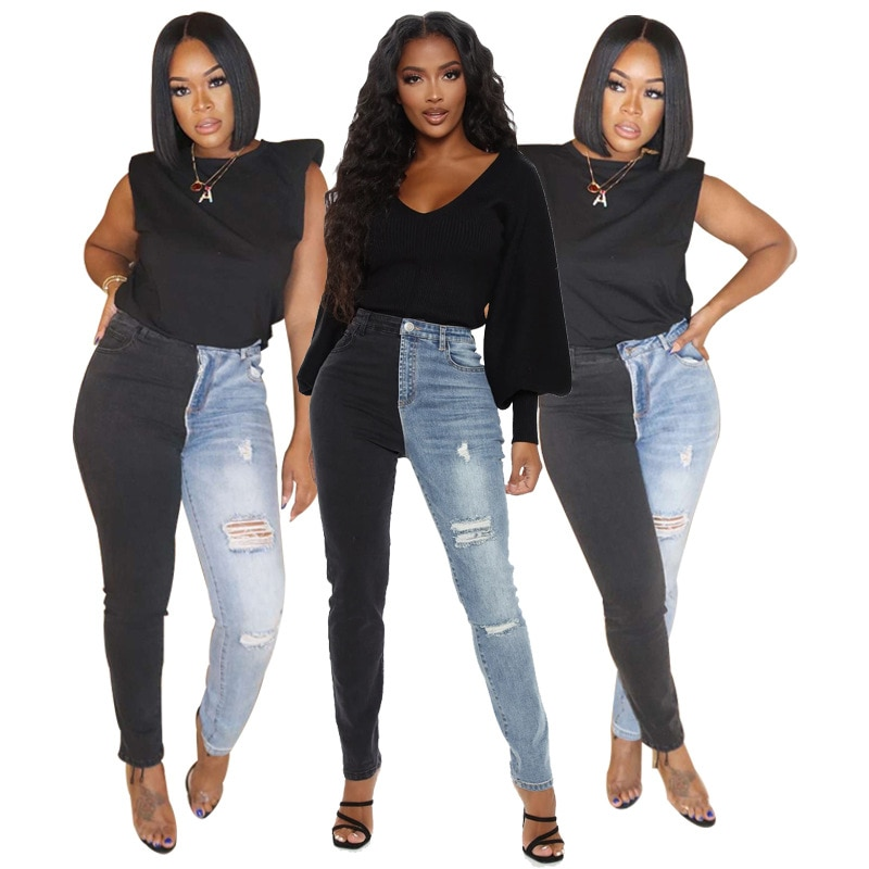 Autumn Winter Patchwork High Waist Bodycon Style Pants Women Casual Fashion Skinny Jeans Trousers La