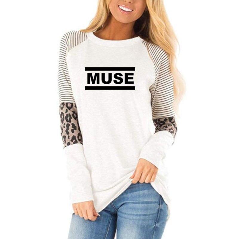 Camisetas de Muse para mujeres de Otoño de manga larga de algodón camisetas de Rock Band Camiseta de manga larga para mujeres