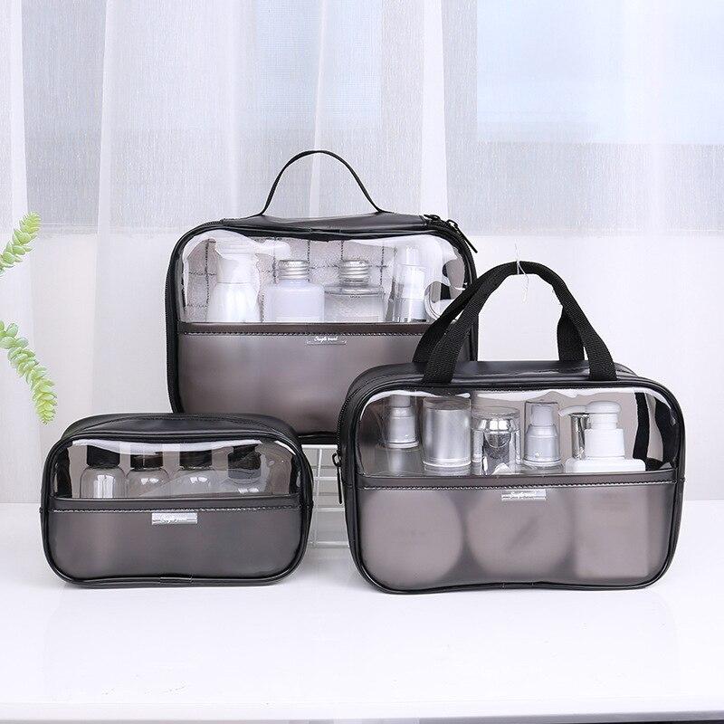 Neceser transparente de PVC para mujer, conjunto de bolsas de maquillaje, Kit de lavado de viaje, estuche organizador de almacenamiento, neceser, bolsa de mano