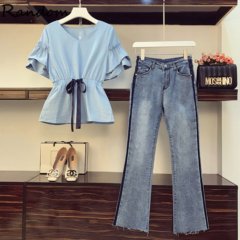 حجم كبير L-4XL 2021 نساء بدل رجالي قميص شيفون أنيق وجان قطعتين مكتب مطابقة مجموعة ملابس الشارع الشهير
