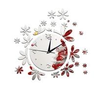 creative personality wall sticking romantic flower mirror clock decoration mirror clock