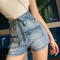 2020 new spring womens fashion high waist reverse zipper slimming bag hip shorts tight denim short shorts women harajuku