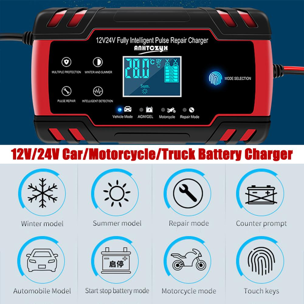 12V 2A Car Auto Battery Charger LED Display 220V EU US Smart Automotive Truck Motorcycle For 12AH 14AH 20AH