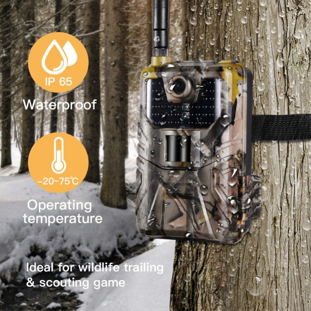 HC900A 1080P 20MP Wildlife Trail Cámara Trap 44 IR LEDs inalámbricos 120 grados 65ft PIR visión nocturna distancia IP65 Cámara impermeable