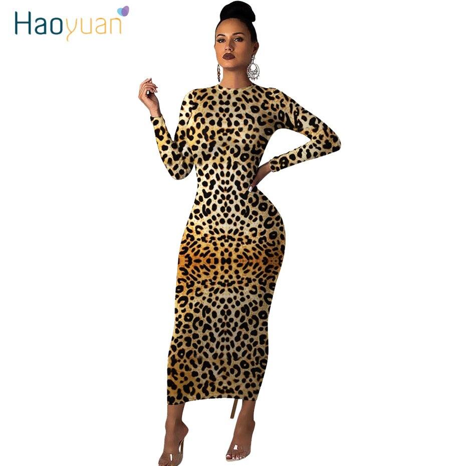 Haoyuan manga longa cheetah leopardo impressão sexy bodycon maxi vestido roupas femininas outono inverno moda vestidos de festa natal