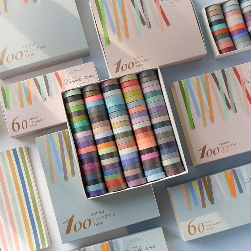 color rainbow set solid color washi tape creative self-adhesive stickers tape for stationery, scrapbook, diary, agenda supplies