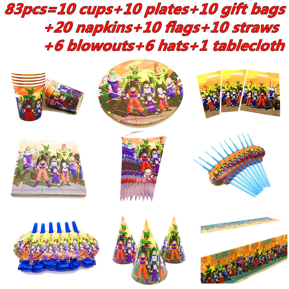 83Pcs Superhero Son Goku Party Supplies Tableware Set Paper Cup Plate Napkins Baby Shower Flags Kids Birthday Party Decorations