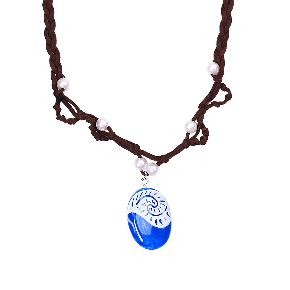 KESOCORAY Pendant Necklace for Princess Monana Cosplay Girl Accessory Movie Gift Heart of Te Fiti Blue Stone Chain Jewelry