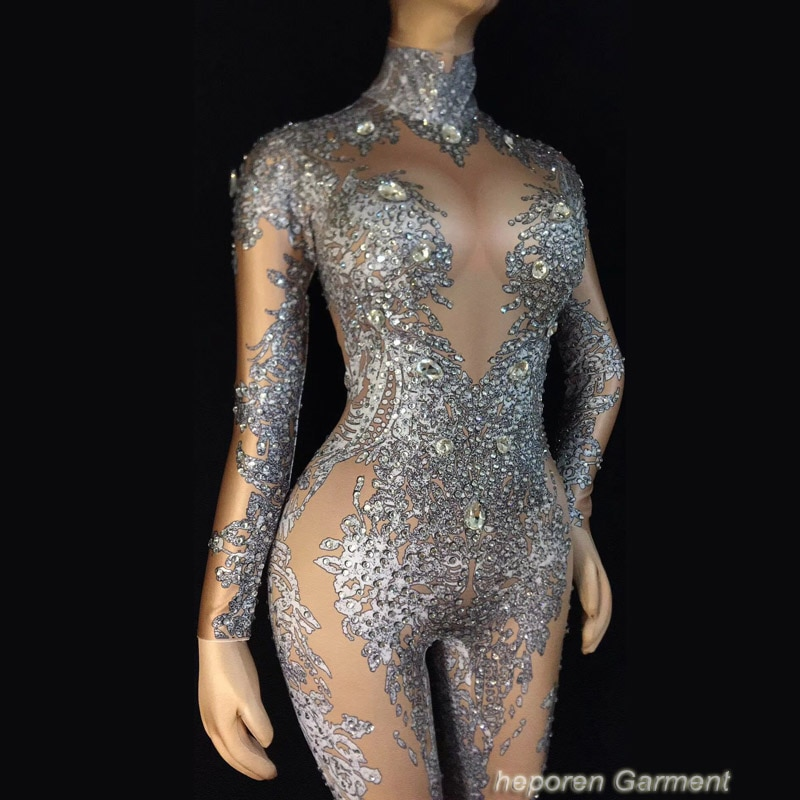 Traje de escenario de Dj femenino Sexy diamante decoración Color desnudo bailarina strass mono estilo Beyonce hecho a medida