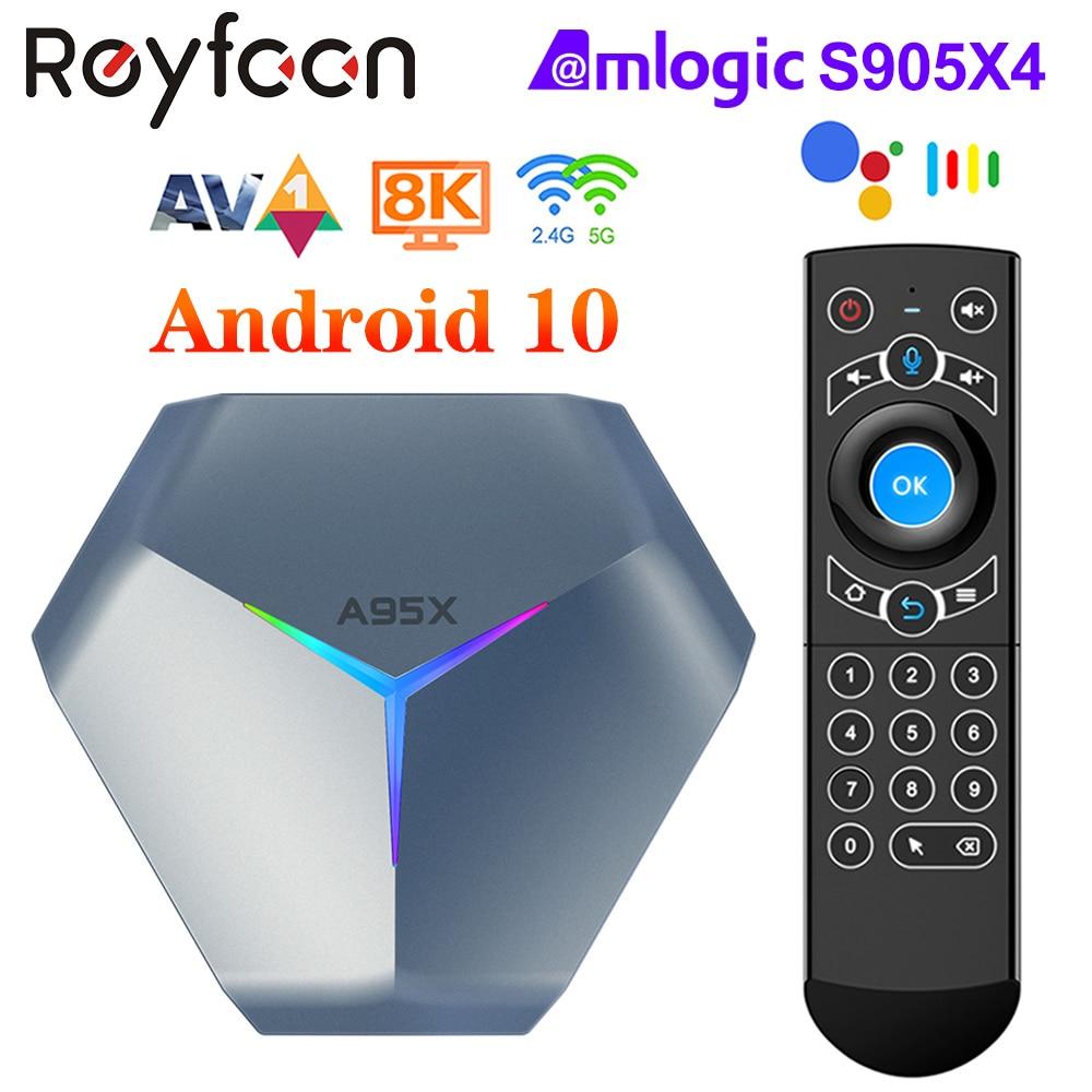 A95X F4 Amlogic S905X4 أندرويد 10 RGB ضوء الذكية صندوق التلفزيون 4K 60fps HD دعم 5G المزدوج واي فاي مشغل جوجل يوتيوب TVbox PK A95X F3