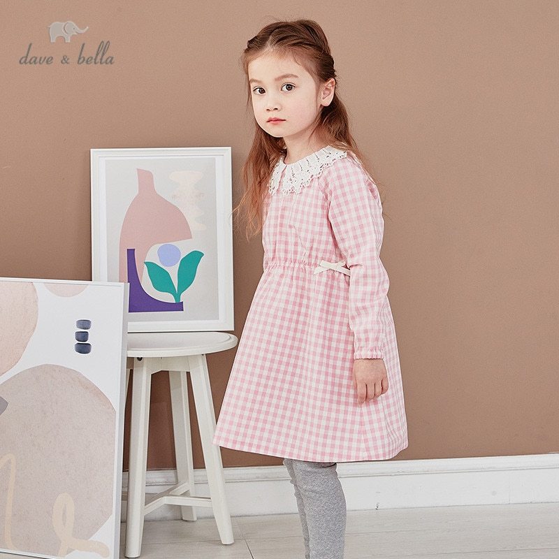 DKY17169 dave bella فستان عصري منقوش للفتيات من 5 إلى 13 سنة ، ملابس لوليتا للأطفال الرضع