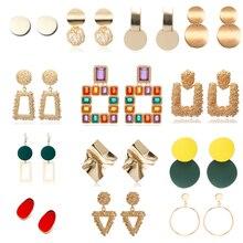 2020 Vintage Earrings Large For Women Statement Earrings Geometric Golden Color Metal Pendant Earrings Trend Fashion Jewelry