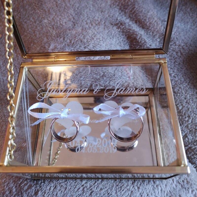 Свадебное кольцо коробка стекло обручальное кольцо на заказ коробка персонализированные имя и дата на пластиковые кольцевая плата Подушка Подружка невесты подарочная коробка
