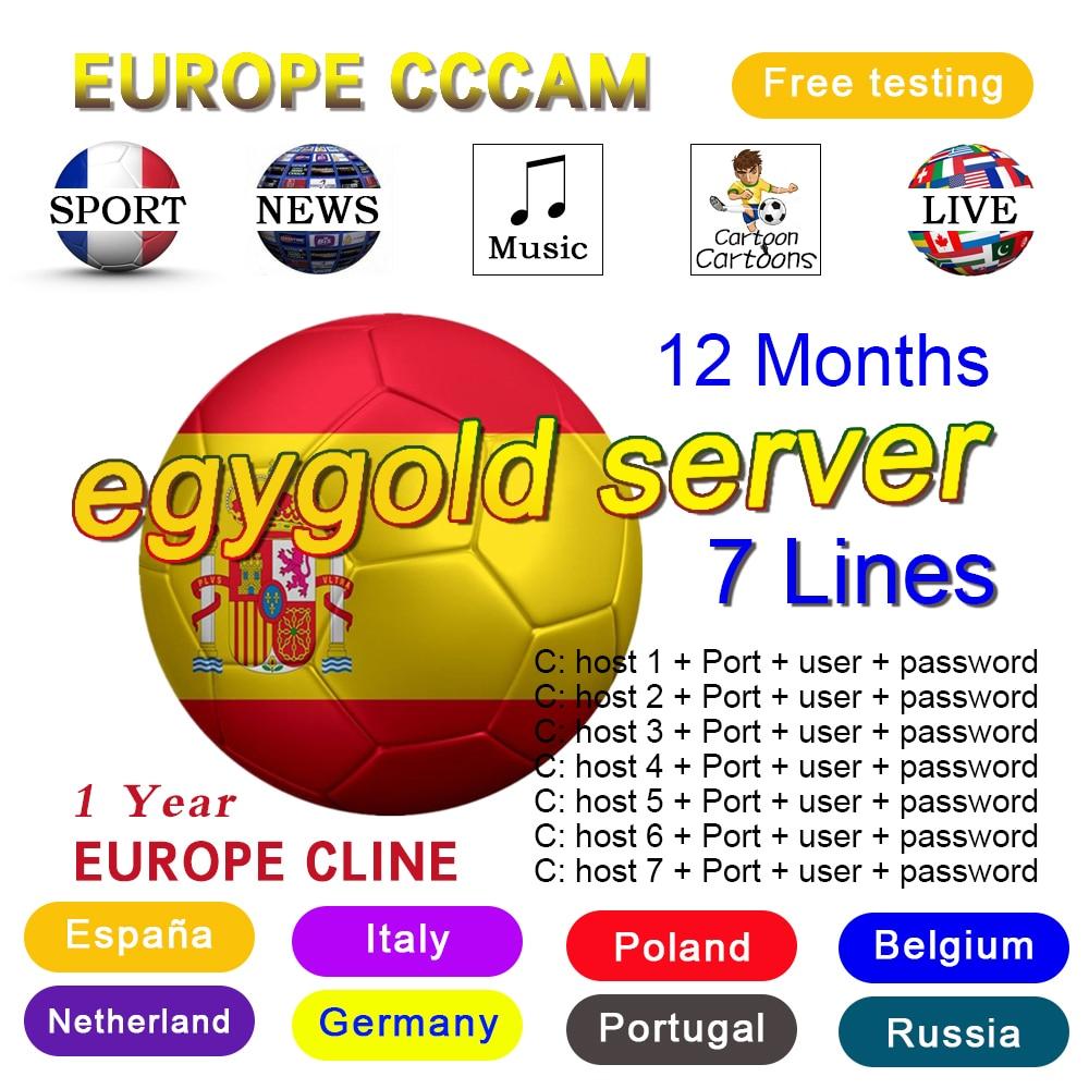 Líneas de cccam para Europa, 7 líneas, DVB-S2, satelite, GTmedia, V8 Nova,...