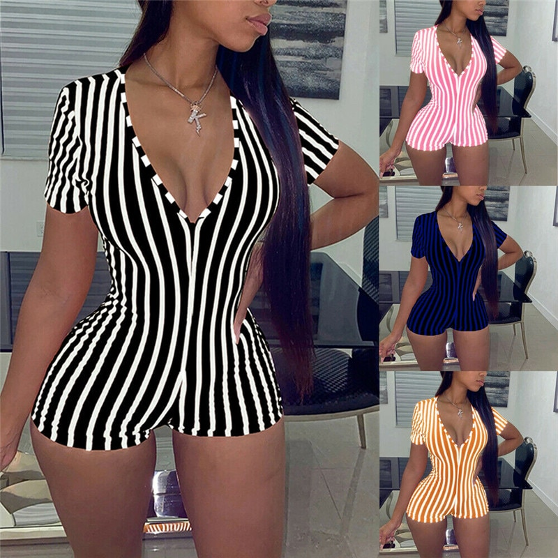 embroidered lace bodysuit women hollow out sexy deep v neck jumpsuit bodycon bodysuit sleeveless summer romper combinaison beach 2020 Sexy Women Deep V-neck Bodycon Jumpsuit Romper Sleepwear Short Sleeve Striped Summer Jumpsuit Short Romper Bodysuit
