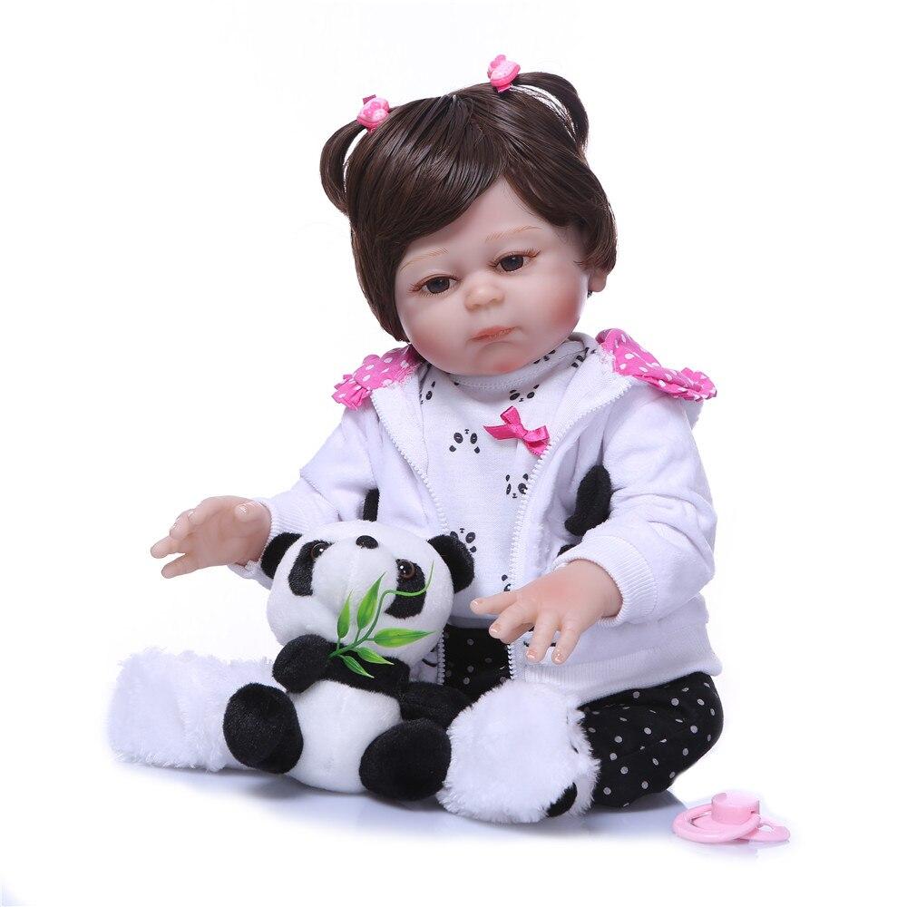 "NPK muñeca bebé reborn corpo de silicona inteiro 20 ""silicona completa reborn baby DOLL panda Ropa Infantil Niño muñeca regalo Juguetes"