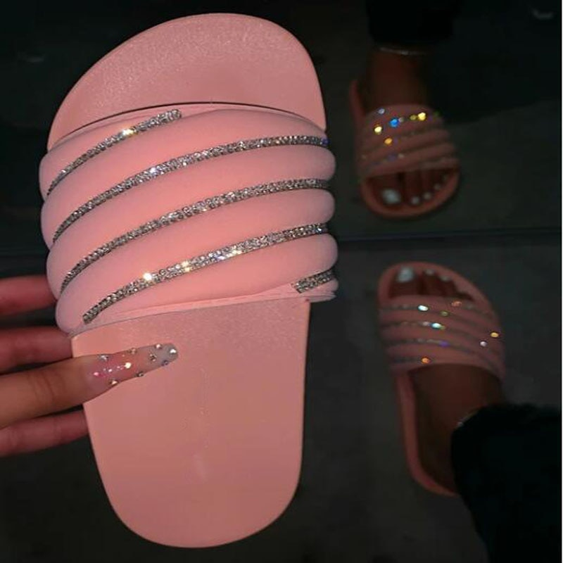 Zapatos rosas de estrás, zapatillas de mujer, zapatillas de playa ostentosas, zapatillas planas antideslizantes de EVA para exteriores, sandalias negras para mujeres, sandalias sexis grandes de 37 a 42