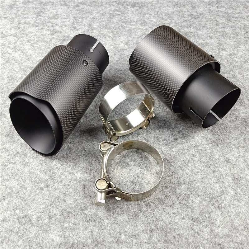 One Piece Universal Carbon Fiber Exhaust Tips Titanium Black Stainless Steel For Tuning Muffler Nozzles Pipes