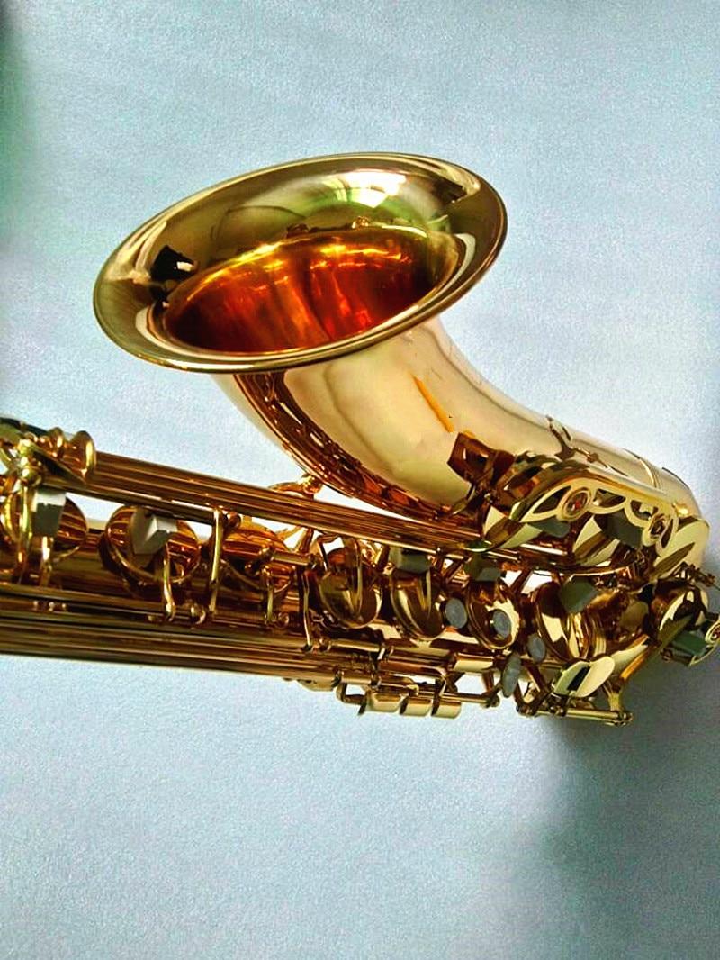 Banhado a Ouro Musicais com Case Novo Profissional Tenor Tune b Saxofone Plana Latão Instrumentos Sax bb