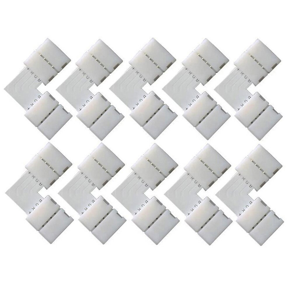 10 Uds. Conectores de esquina de 10mm 4 pines en forma de L, tira de LED RGB, conectores de esquina de 90 grados para tira de luz LED RGB 5050 2835/3528