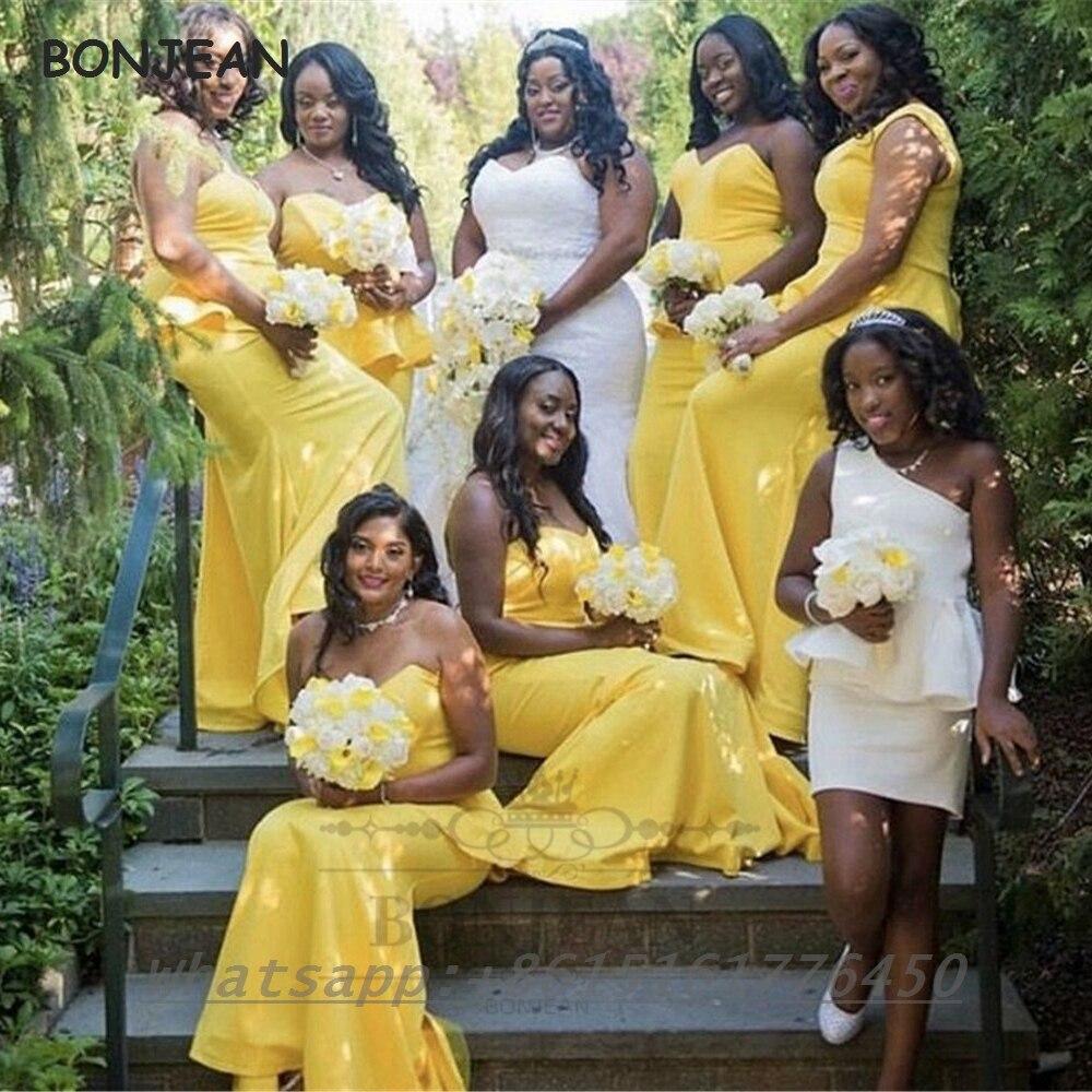 فستان العروسة حورية البحر ، أصفر ، حورية البحر ، طول الأرض ، فستان حفل زفاف للنساء ، 2021
