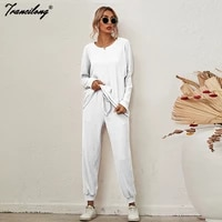home lounge wear sweatshirt sets women white loose two piece pants suit soild pullover conjunto chandal mujer 2021 plus size