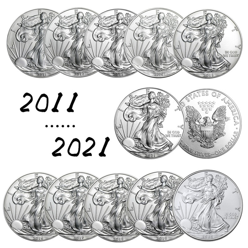 11 шт. Объединенная Статуя Свободы, коллекционные монеты 2011 ~ 2021, серебряные новогодние подарки, памятные монеты, коллекционные монеты