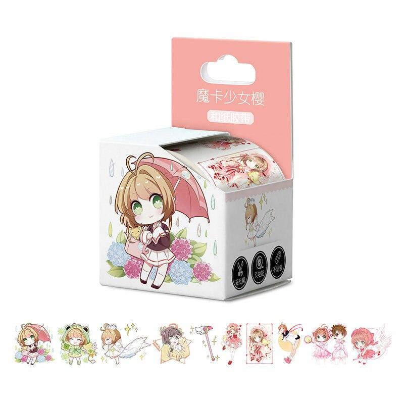 4cm * 5m recién llegado tarjeta Captor Sakura Cardcaptor Sakura Anime Cinta adhesiva Washi cinta libro para bricolaje etiqueta adhesiva cinta adhesiva