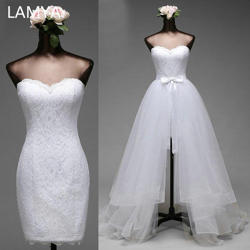 Lamya vestido de noiva 2 em 1, vestido de noiva plus size sexy, baratos 2 em 1, vestidos de noiva simples removíveis, 2019