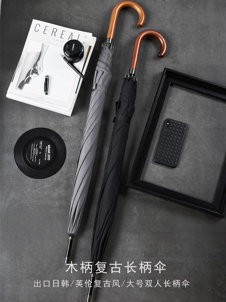 British Retro Men's Wooden Handle Hook Umbrella Simple Gentleman Large Business Wind-Resistant Long Handle Umbrella enlarge