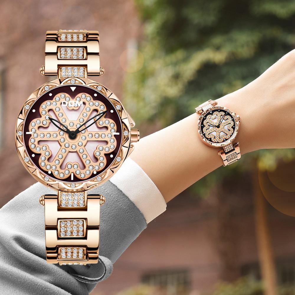 DOM العلامة التجارية الفاخرة النساء الكوارتز الساعات بساطتها أزياء عارضة الإناث ساعة اليد للماء الذهب الصلب Reloj موهير G-1258GK-9MX