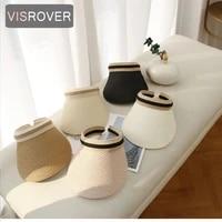 visrover 6 color summer women empty top sun hat cap solid color beach big visor hat fashion holiday sunscreen bonnet hats gift