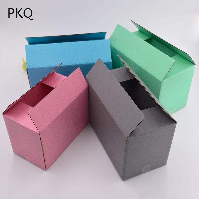 10 Uds. Caja de papel de alta calidad corrugado cajas de embalaje artesanal cajas de almacenamiento de joyas caja de papel Kraft caja de correo grande