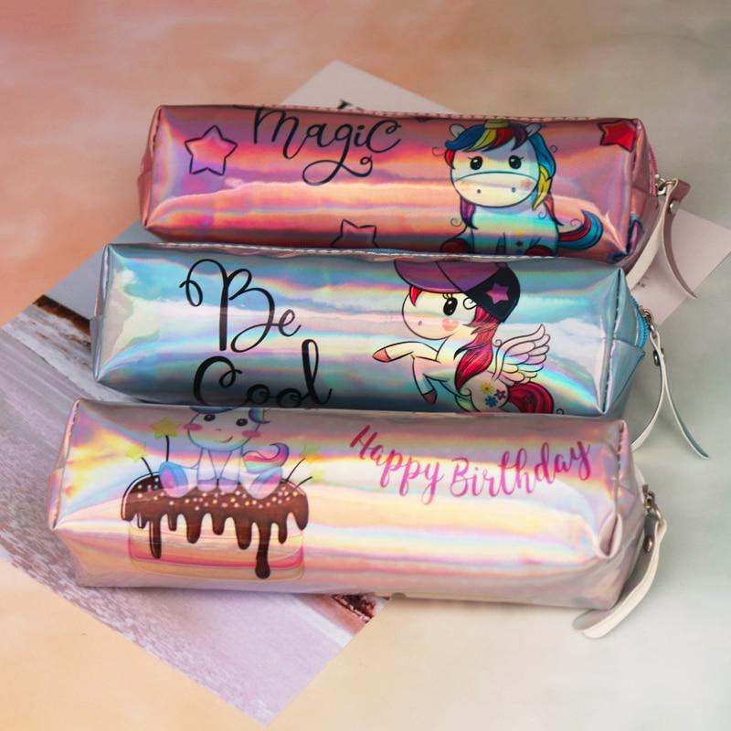 Caso de lápis a laser holográfico unicórnio alças para a menina estudante alta qualidade plutônio flamingo lápis caixa saco material escolar papelaria