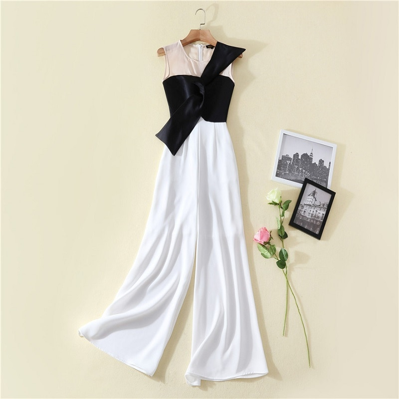 High Quality New Long Jumpsuits 2021 Summer Women Bow Deco Color Block Patchwork Sleeveless Wide Leg Pant Overalls Clothing