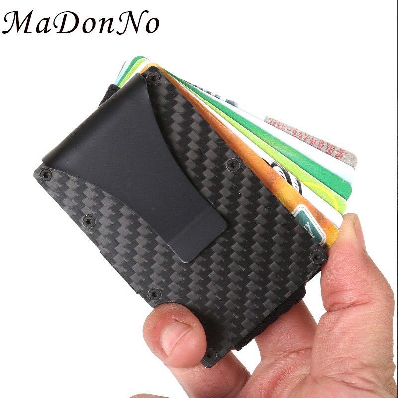 DIENQI, monederos de fibra de carbono Rfid para hombre, minimonederos finos pequeños, minimalistas, cartera inteligente para hombre, monederos para tarjetas, monedero