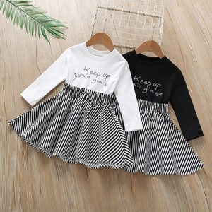 Casual Fashion girls party dress Long Sleeve kids Baby Girl Dress Letter Striped Printing Toddler Princess Dress Spring Autumn
