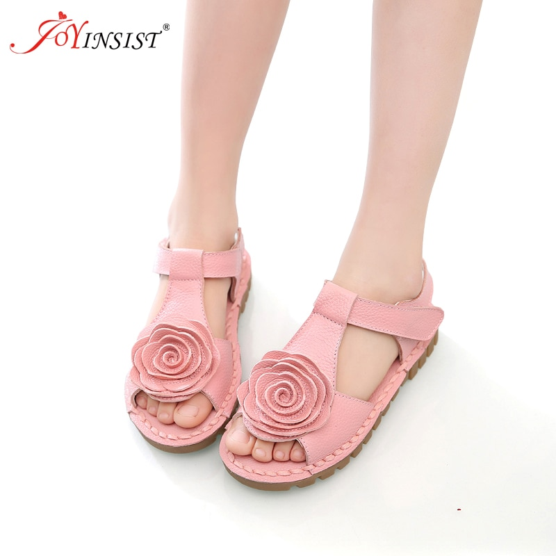 The First Layer Of  Leather Sandals Korean Girls Flower Large Soft Bottom Sandal Shoes 2019 Summer New Tide