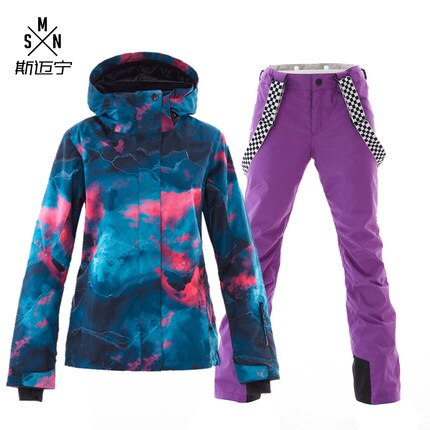 بدلة تزلج SMN, بدلة تزلج SMN للنساء البالغات مقاومة للرياح ملونة مقاومة للماء تسمح بمرور الهواء للرياضات الخارجية مناسبة للشتاء