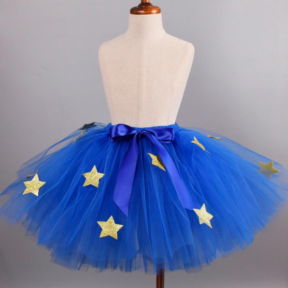 Женская фатиновая юбка с блестками ярко синяя для новорожденных школьная Одежда