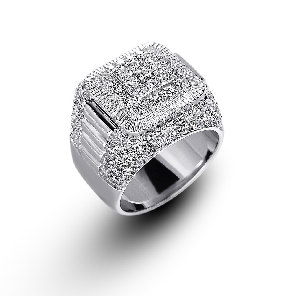 OTIY  S925 Fashion Vintage Square White Gold Plated Hip Hop Diamond Rings Jewelry Iced Out CZ Men Ring for Men