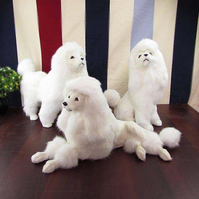 Juguete de la vida real modelo duro de perro blanco poodle, polietileno y pieles grandes poodles, adorno decoración artesanía regalo s0777
