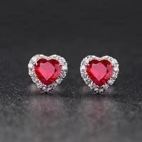 romantic elegant women eternal heart shape crystal stud earring 2021 fashion women promise aaa zircon wedding engagement jewelry