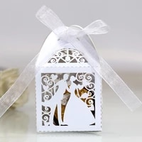 30 50pcsllot lase cut bride groom wedding sweets candy box guests gift boxes paper packaging baby shower chocolate cookie box