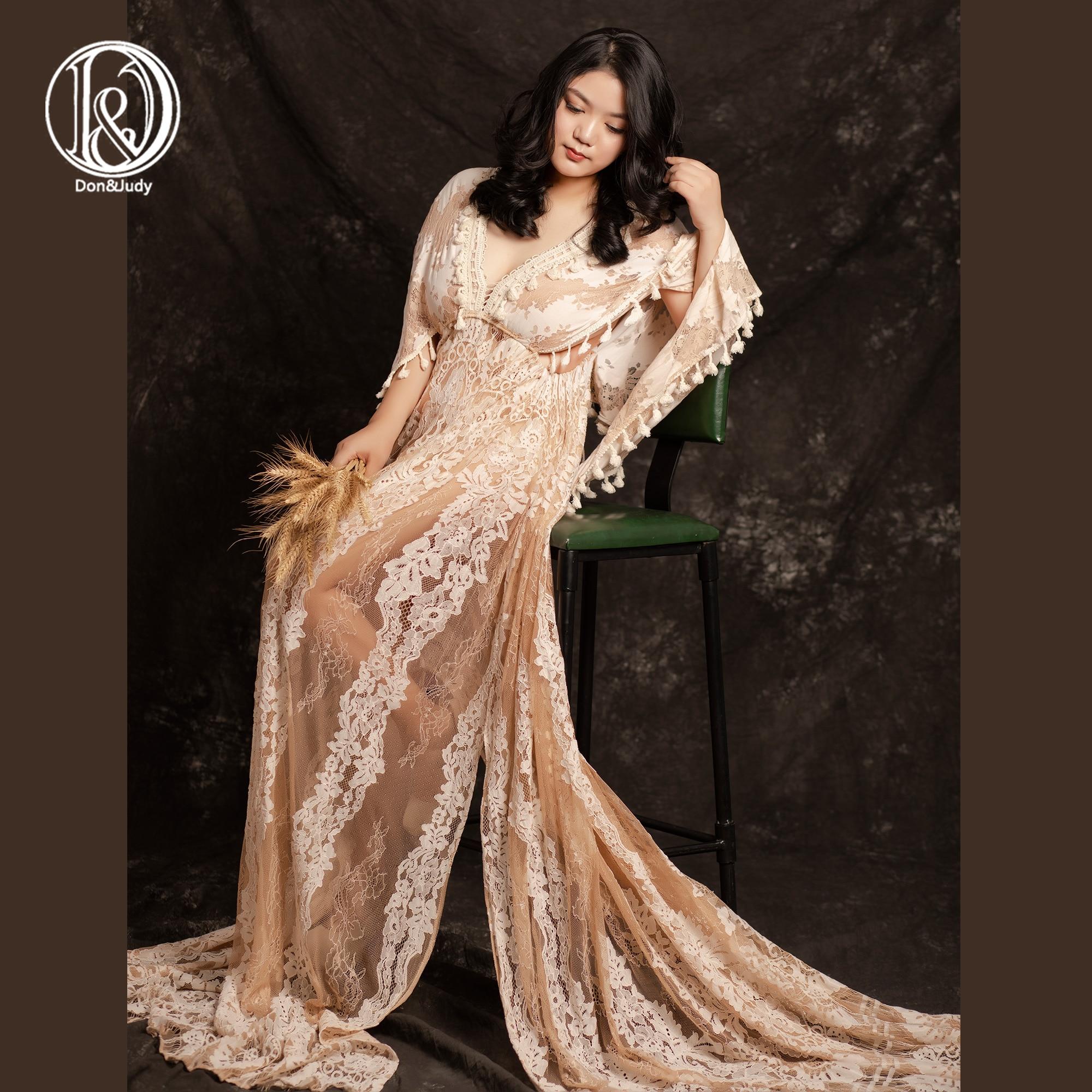 Don&Judy Maternity Photography Props Boho Lace Maxi Khaki Dress Elegant Pregnancy Photo Shoot Women V-neck Maternity Clothes