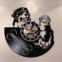 Bernese Mountain Dog Wall Clock Vinyl Record Wall Art Home Decor Berner Pet Vintage Wall Watch Berner Sennenhund Dog Breed Gift