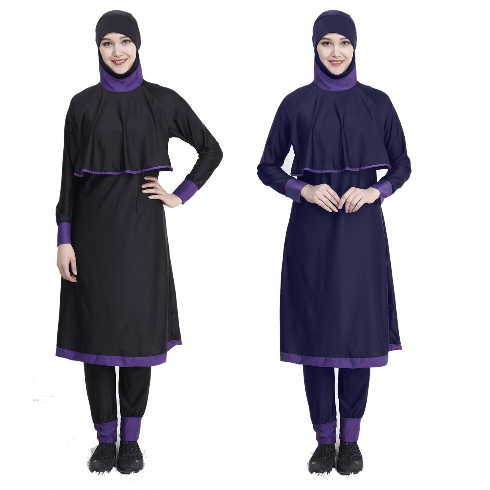 Swimwear Women Islamic muslim hooded Swim Wear 2 Piece Suit Hijab Swimsuit Modest Swim Surf Wear Sport maillot de bain islamique