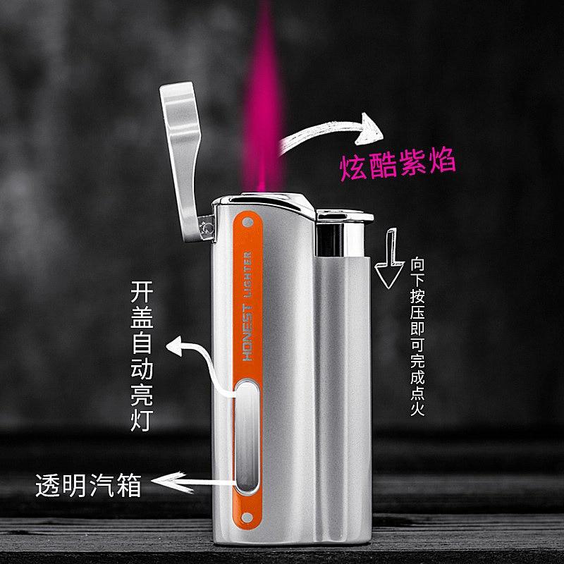 New Jet Torch Lighter Turbo Metal Lighter Visible Butane Gas Window Windproof Inflated Cigarette Cigar Lighters Gadgets For Man enlarge
